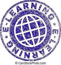 El grunge texturó sello de sello de sello de E-aprendimiento