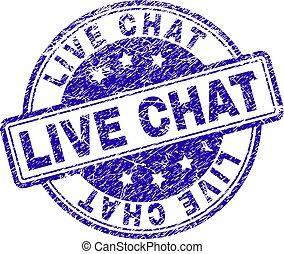 El grunge textured Live Chat sello sello sello sello postal