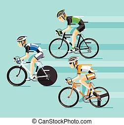 El Grupo de ciclistas en carreras de bicicletas.