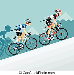 El grupo de ciclistas en las carreras de bicicletas de carretera va a la montaña.