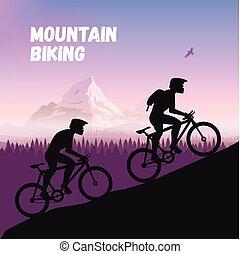 El Grupo de ciclistas en un camino difícil. Las carreras de bicicletas van a la montaña. Diseño plano Vector. Silueta de ciclista.
