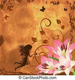 El hada de la fantasía de las flores