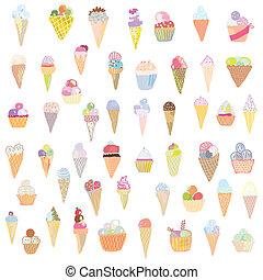 El helado es un diseño gracioso, pinturas dibujadas a mano