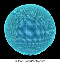 El holograma de la Tierra sobre fondo negro