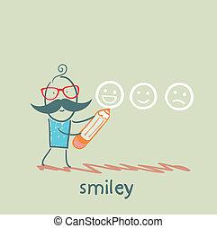 El hombre con un lápiz dibuja sonrisas