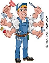 El hombre de la construcción de herramientas de caricatura Handyman
