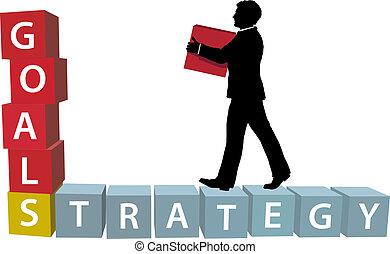 El hombre de la estrategia GOALS construye bloques de negocios