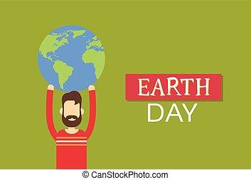 El hombre de la Tierra mantiene el mundo plano
