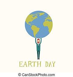 El hombre de la Tierra sostiene el mundo del globo