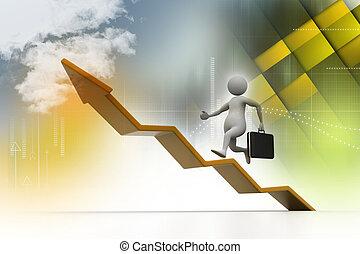 El hombre de negocios apunta al crecimiento empresarial