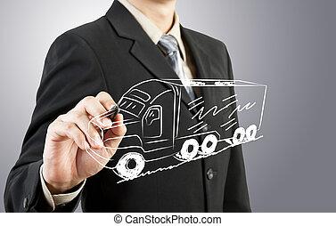 El hombre de negocios atrae el transporte