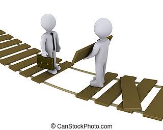 El hombre de negocios ayuda a otro a cruzar un puente dañado
