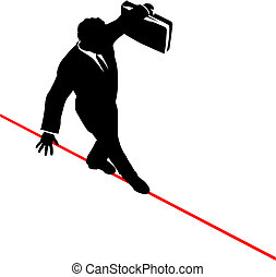 El hombre de negocios balancea el maletín camina arriesgando la cuerda floja