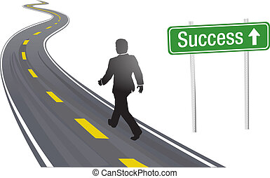 El hombre de negocios camina por la carretera señal de éxito