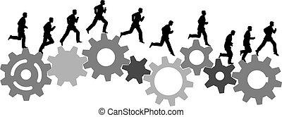 El hombre de negocios con prisas corre con engranajes industriales