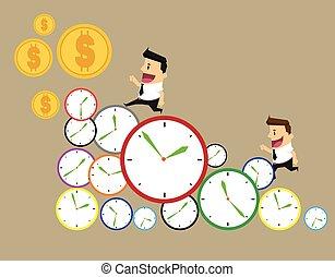 El hombre de negocios corre a tiempo. Durante el día de negocios en una fila de relojes