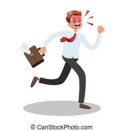 El hombre de negocios corre con prisa. Un hombre estresado con traje
