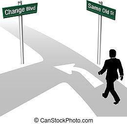 El hombre de negocios decide lo mismo o cambia