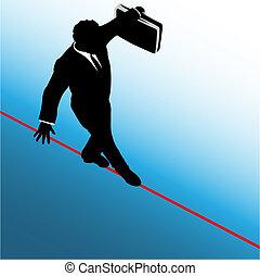El hombre de negocios del símbolo camina por la cuerda floja