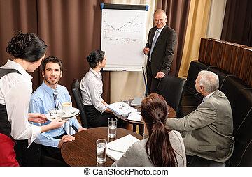 El hombre de negocios en la reunión del equipo discute el flip-chart