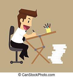 El hombre de negocios es feliz con el escritorio de trabajo