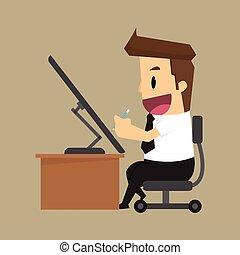 El hombre de negocios es feliz con el trabajo, escritorio