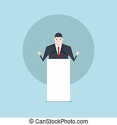 El hombre de negocios hablando en el podio.