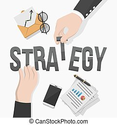 El hombre de negocios ilustra la estrategia