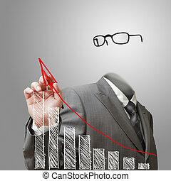 El hombre de negocios invisible dibuja gráficos de crecimiento