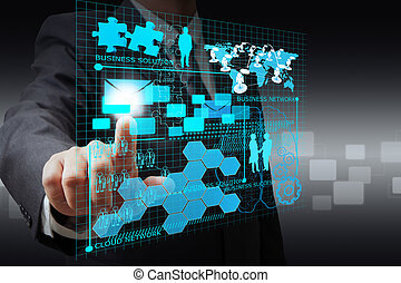 El hombre de negocios marca la red de negocios virtual
