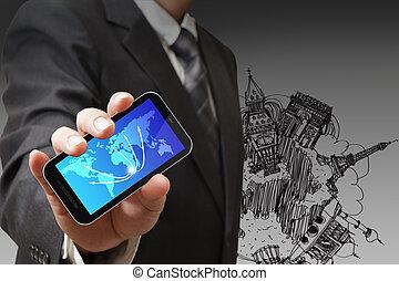 El hombre de negocios muestra el concepto del tacto
