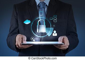El hombre de negocios muestra el mundo 3D con candado como concepto de negocios en internet de seguridad