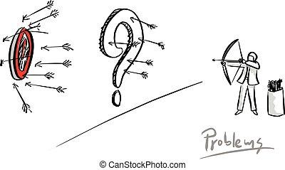 El hombre de negocios no puede disparar al objetivo por un gran signo de interrogación dibujado a mano con líneas negras aisladas en el fondo blanco. Un concepto de negocios