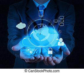 El hombre de negocios nube 3D icono en pantalla táctil como concepto de negocio de seguridad en internet