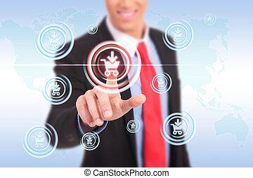 El hombre de negocios presiona el botón de compra