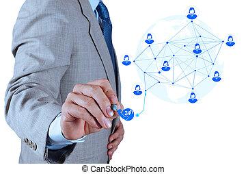El hombre de negocios que trabaja con la nueva computadora moderna muestra la estructura de la red de servicios como concepto