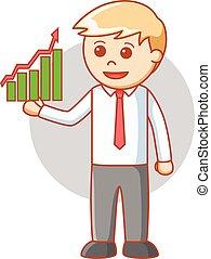 El hombre de negocios reporta un buen historial