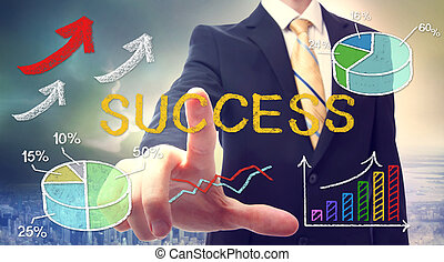 El hombre de negocios señalando a SUCCESS