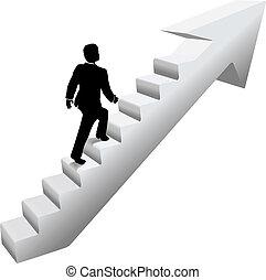 El hombre de negocios sube escaleras con éxito