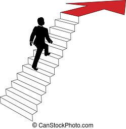El hombre de negocios sube escaleras de flechas