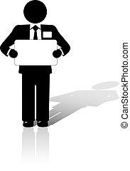 El hombre de negocios tiene un cartel en blanco