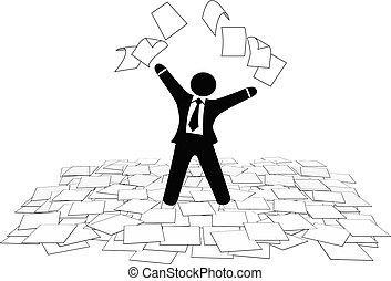 El hombre de negocios tira páginas de trabajo al suelo