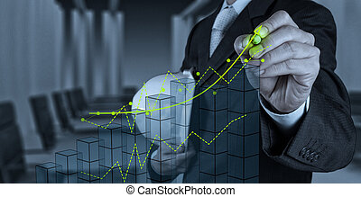 El hombre de negocios trabajando con la nueva interfaz de computadora muestra el concepto de desarrollo de la construcción