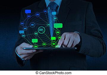 El hombre de negocios usa tablet con icono de email