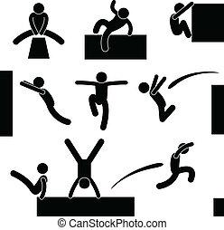 El hombre de Parkour salta
