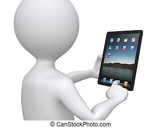 El hombre del 3D sosteniendo un pc de tóqueo apretando uno de los iconos