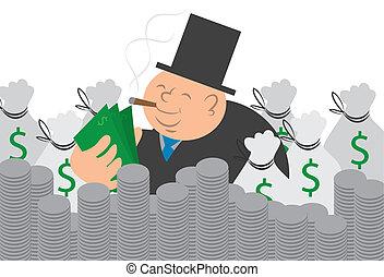 El hombre del dinero con dinero y monedas