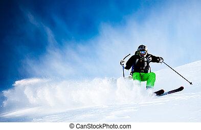 El hombre está esquiando