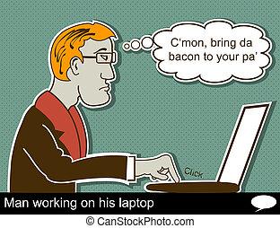 El hombre está trabajando en la laptop