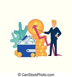 El hombre explica la estrategia de crecimiento financiero.